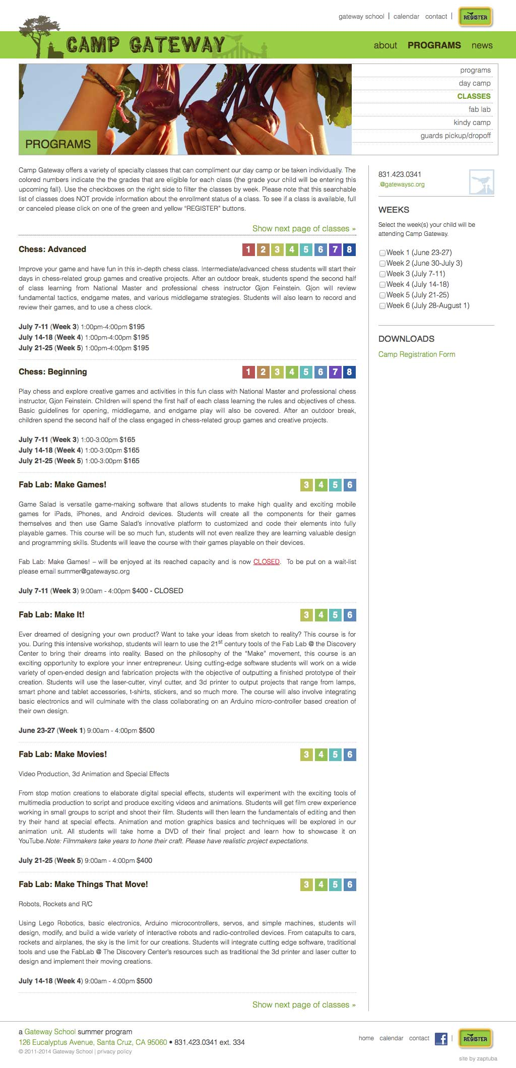 Camp Gateway • Programs • Classes page - Website by ZapTuba