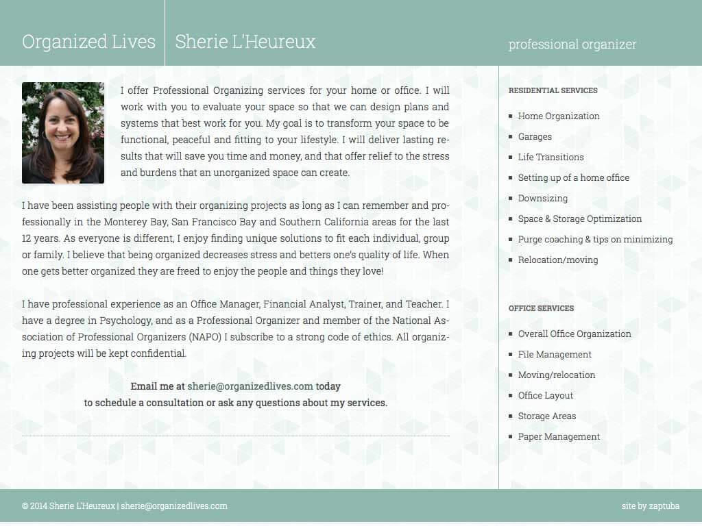 Organized Lives - Website by ZapTuba